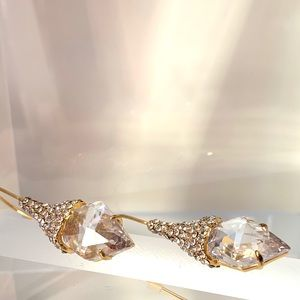 NEW alexis bittar shield wire earrings Gold CZ
